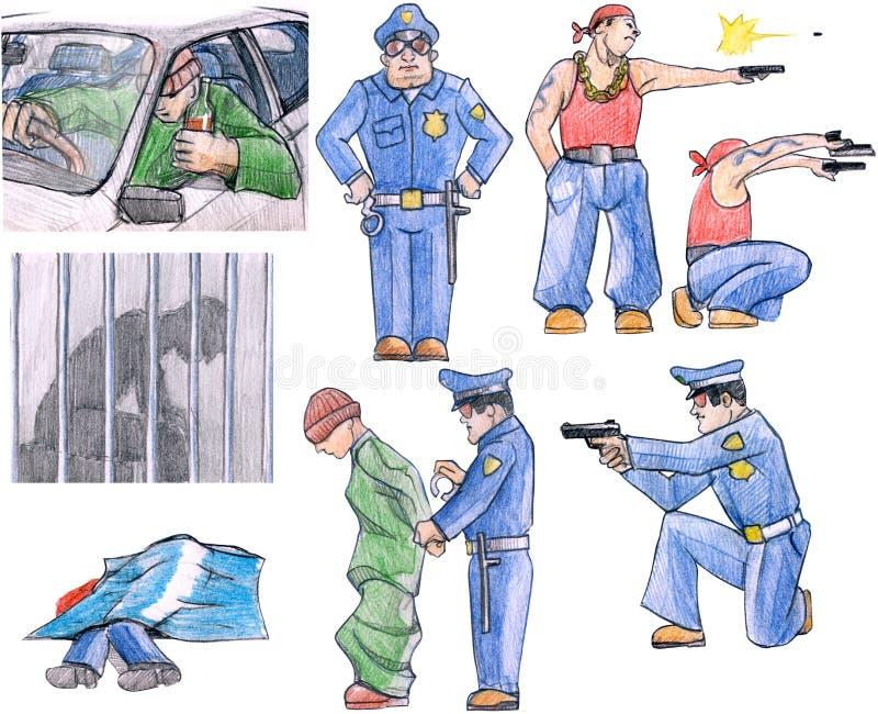 Crimen y aplicación de ley ilustración del vector