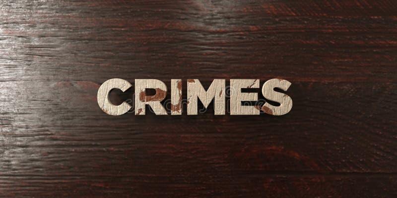 Crimes - titre en bois sale sur l'érable - image courante gratuite de redevance rendue par 3D illustration stock