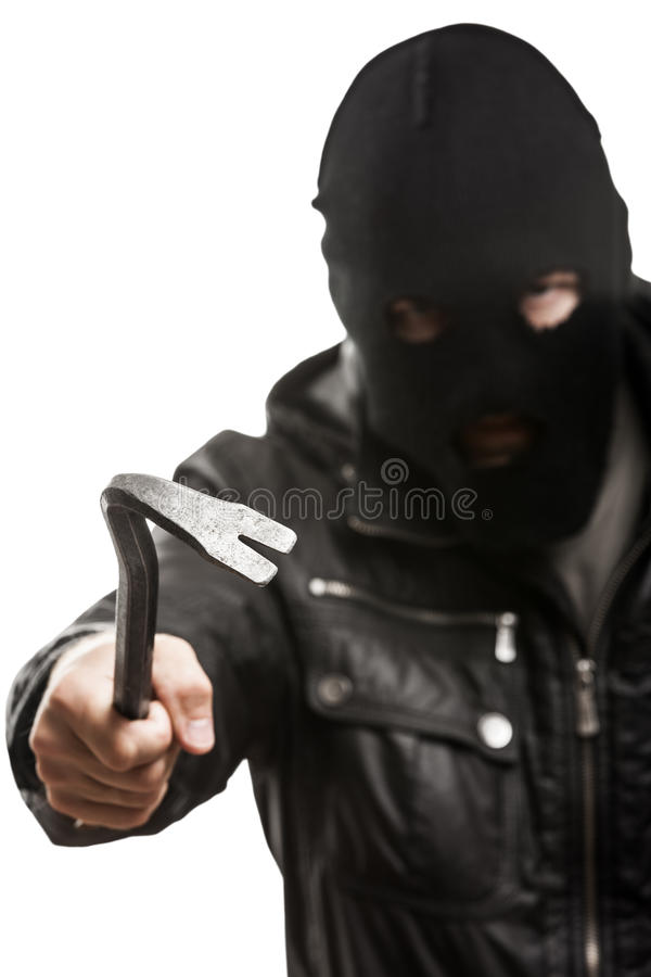 Criminal Burglar Man In Mask Holding Crowbar Royalty Free