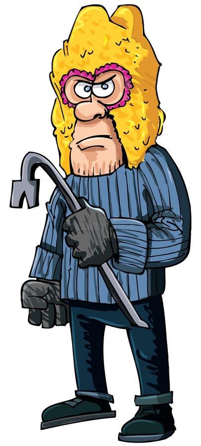 Criminal with a crowbar wearing a balaclava stock illustration
