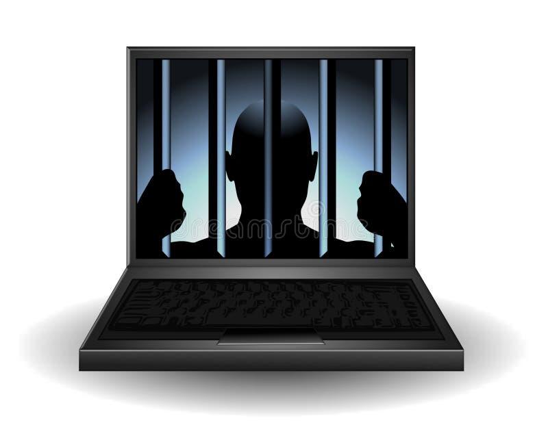 Criminal del Internet detrás de barras ilustración del vector