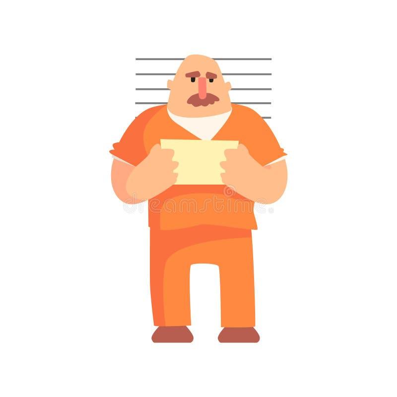 Criminal en imagen que toma uniforme de la prisión anaranjada con el número de la prisión cogido y condenado para sus crímenes libre illustration