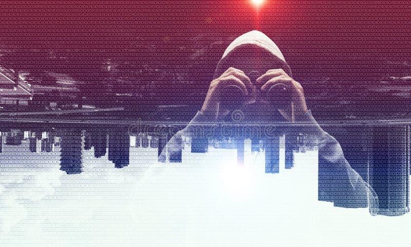 Criminal en la ciudad ilustración del vector