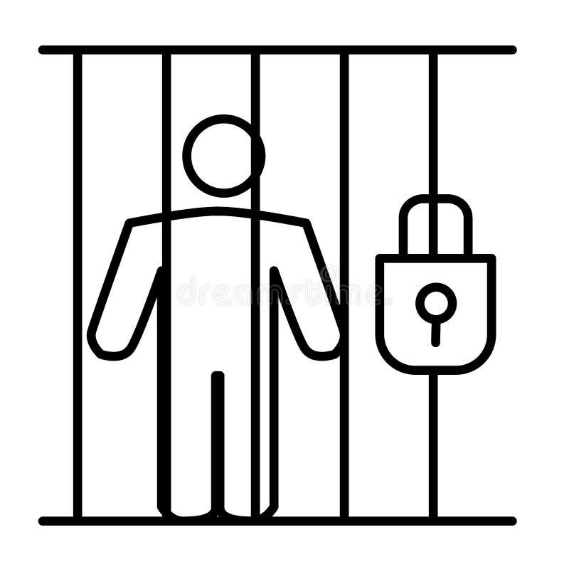 Criminal en la línea fina icono de la prisión Prisioner en el ejemplo de la cárcel aislado en blanco Persona en diseño del estilo libre illustration