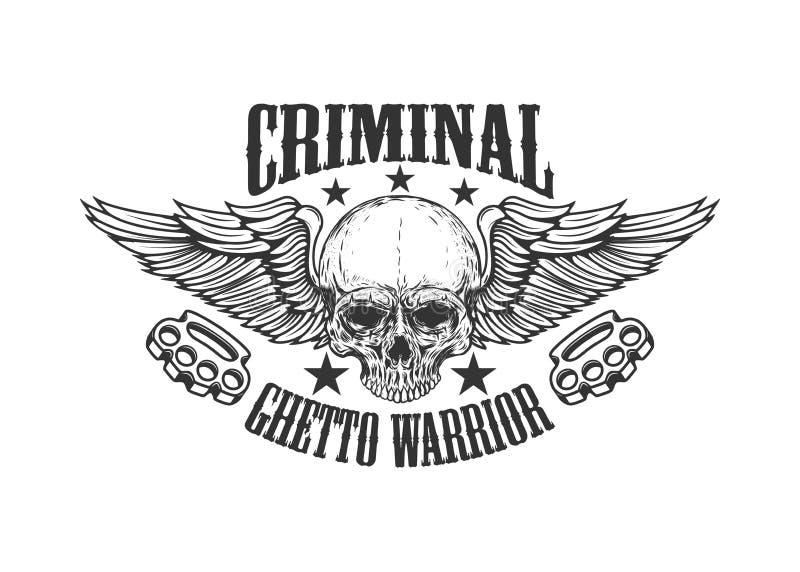 Criminal. Ghetto warrior. Skull with wings and brass knuckles. Design element for logo, label, emblem, sign, badge. vector illustration