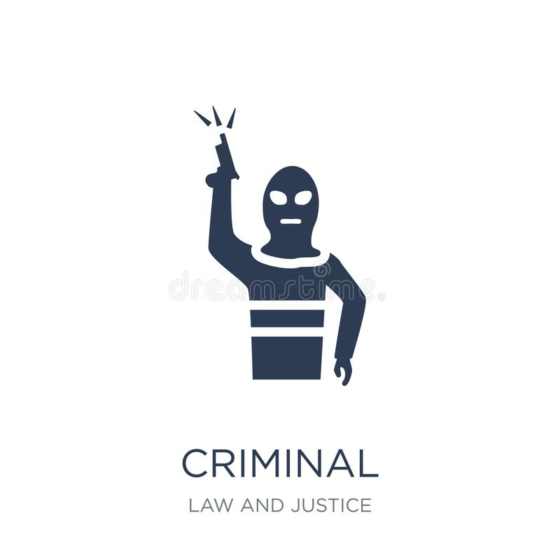 Criminal icon. Trendy flat vector Criminal icon on white background from law and justice collection. Vector illustration can be use for web and mobile, eps10 royalty free illustration