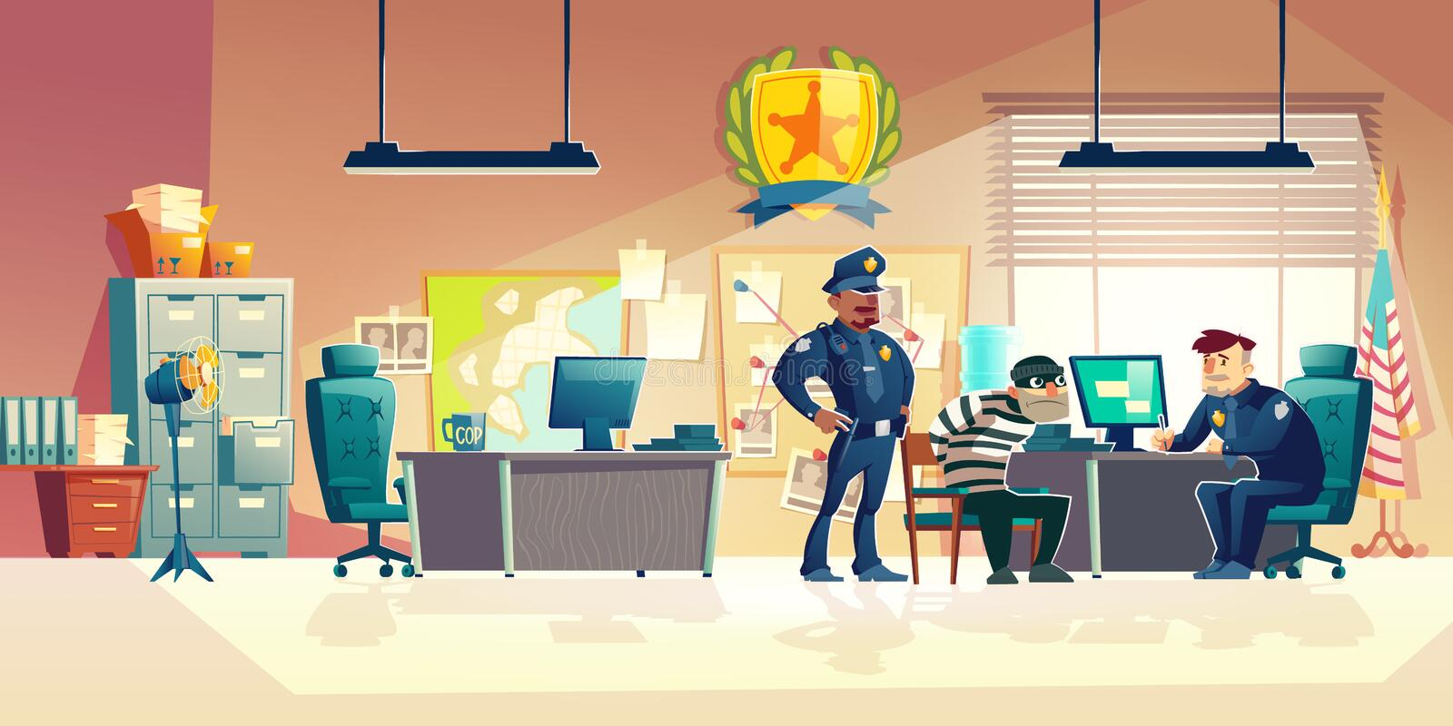 Criminal interrogation in police cartoon vector. Criminal interrogation, questioning in police station. Police officers asking questions arrested thief in office stock illustration