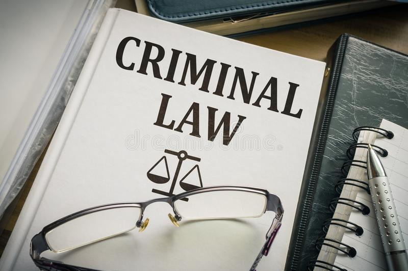 Criminal law book. Legislation and justice concept royalty free stock photography