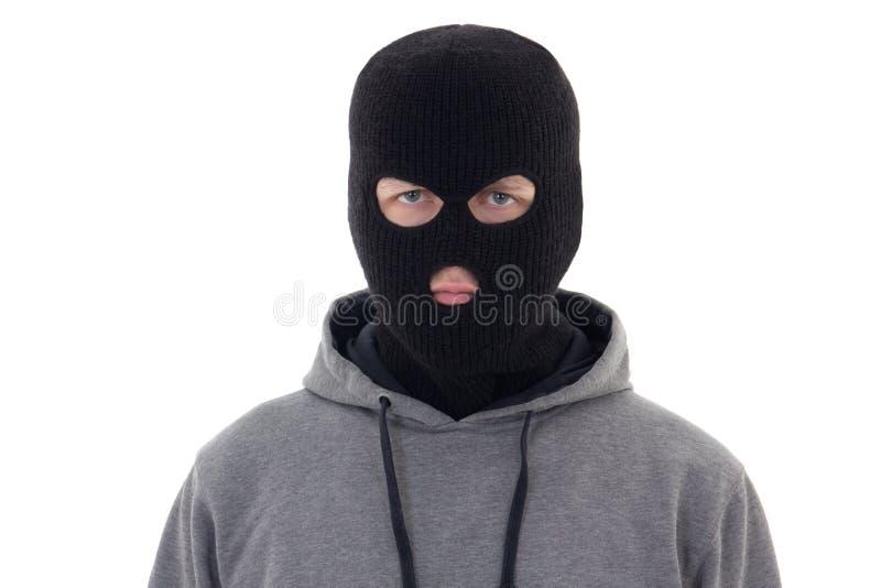 Criminal man in black mask isolated on white. Background stock photos