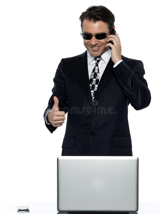 Criminal man computer hacker satisfied happy royalty free stock images