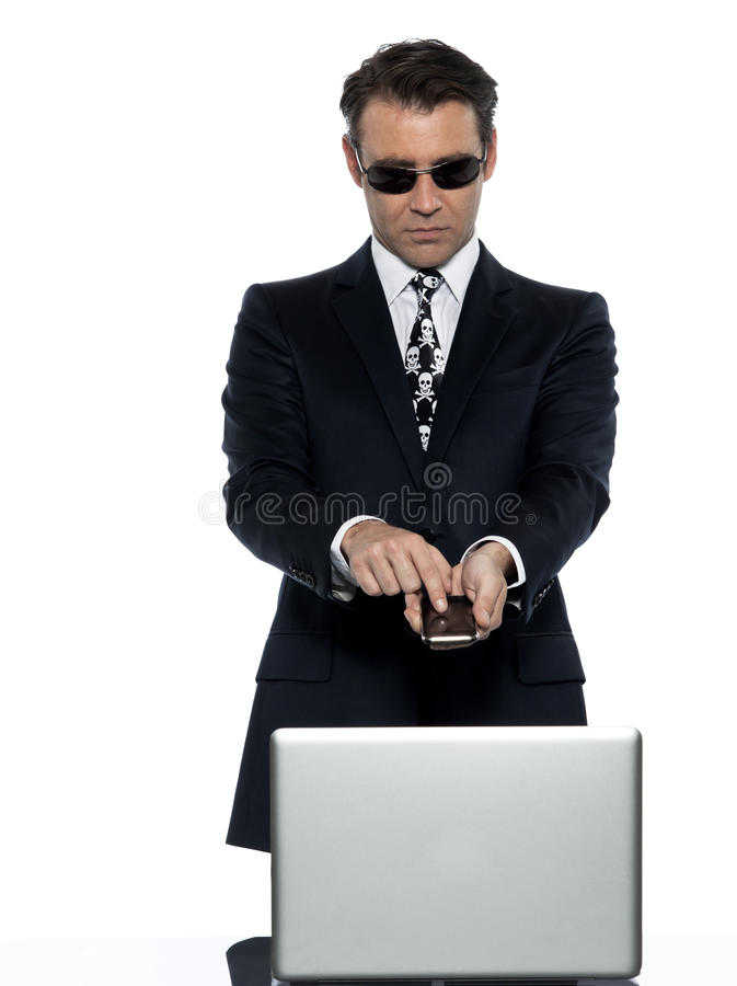 Download Criminal Man Computer Hacker Satisfied On Phone Stock Image - Image: 21613423