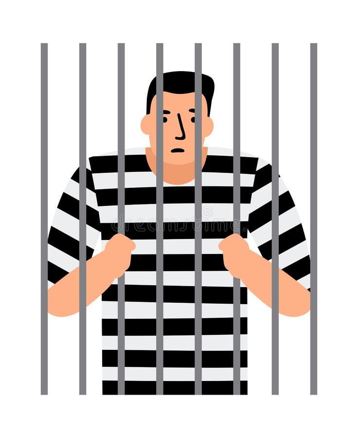 Criminal man in jail. Man under arrest, behind bars, vector illustration royalty free illustration