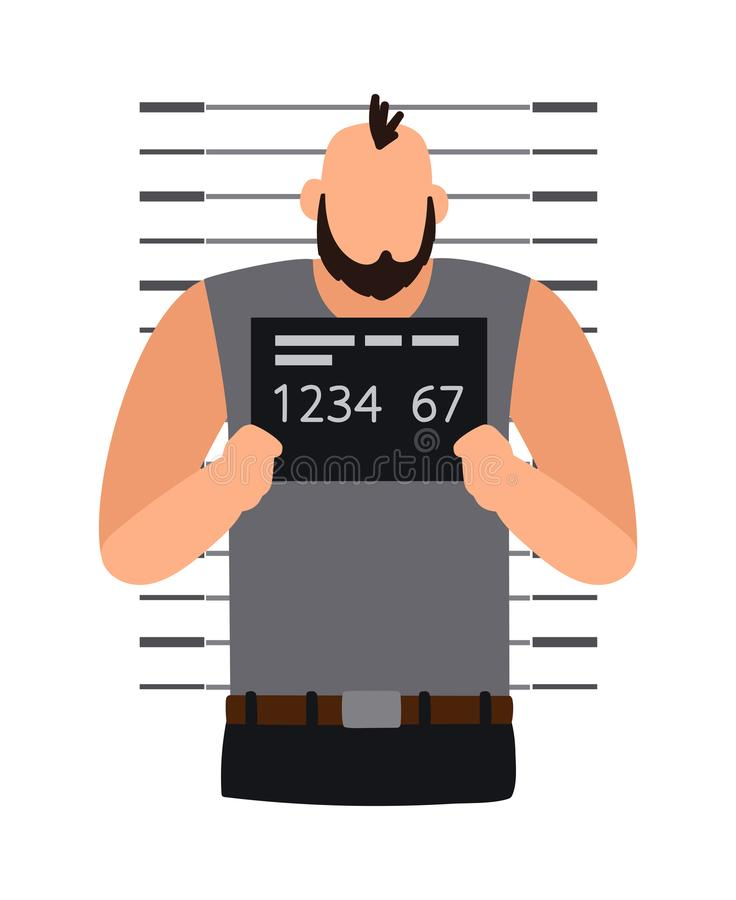 Criminal man photo. Criminal man icon. Making picture for police, man under arrest stands beside the wall with number plate, vector icon vector illustration