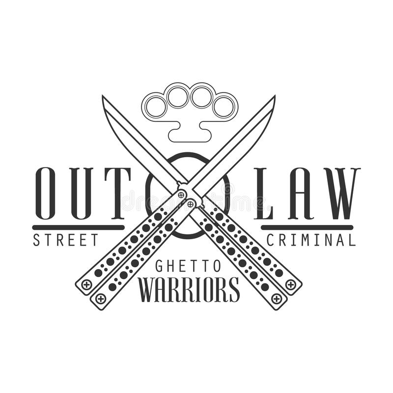 Criminal Outlaw Street Club Black And White Sign Design Template With Text, Crossed Butterfly Knives And Brass Knuckles vector illustration