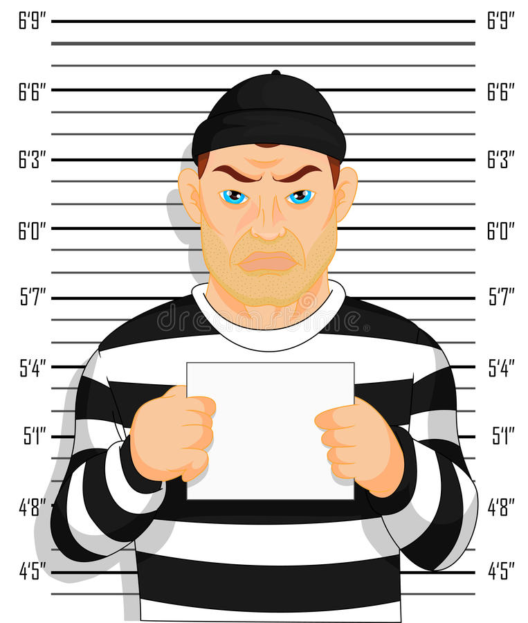 Criminal photo Caught criminal stands beside wall with number in hand royalty free illustration