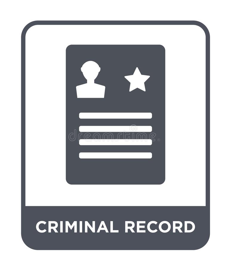 Criminal record icon in trendy design style. criminal record icon isolated on white background. criminal record vector icon simple. And modern flat symbol for royalty free illustration