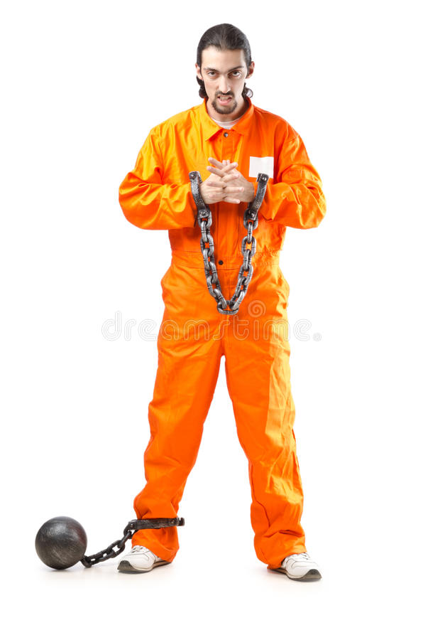 Criminal In  Robe In Prison Royalty Free Stock Photography