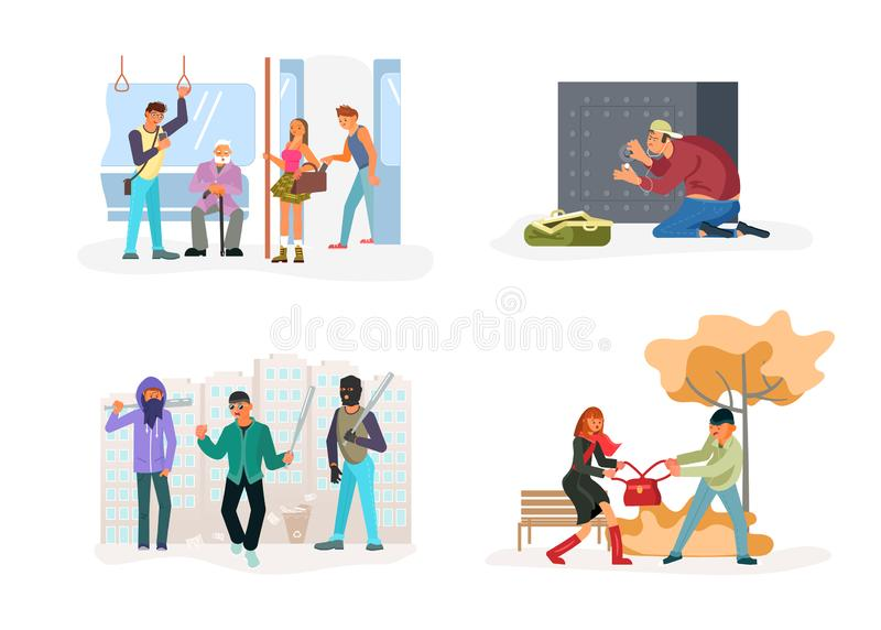Criminal set of malefactor. Kidnapers, Burglars, Thieves, their victims and detective isolated. Flat Art Vector illustration royalty free illustration
