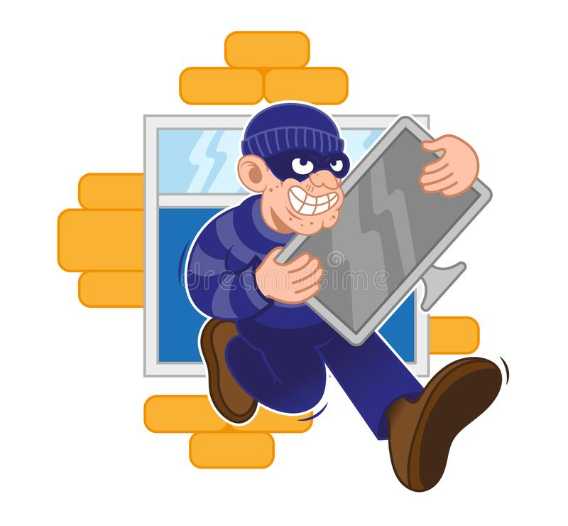 Criminal think. Cartoon dangerous criminal thief dressed in dark mask fast run away with big stolen plasma screen tv in hands from window of house. Modern vector stock illustration