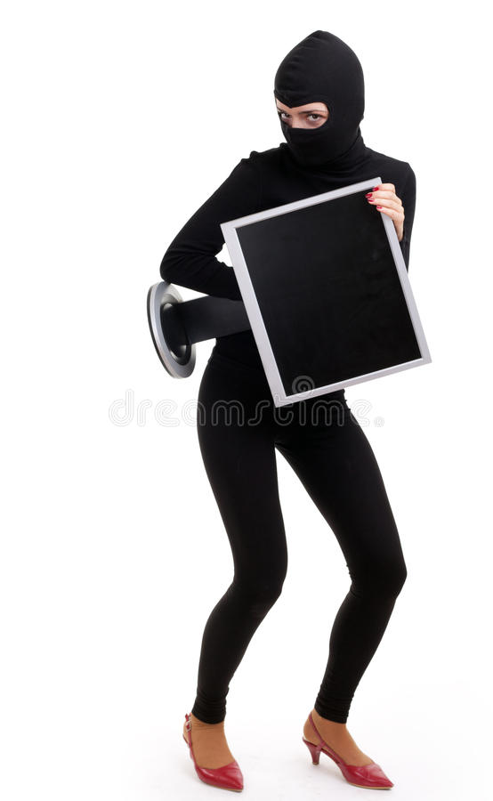 Criminal woman with screen of computer