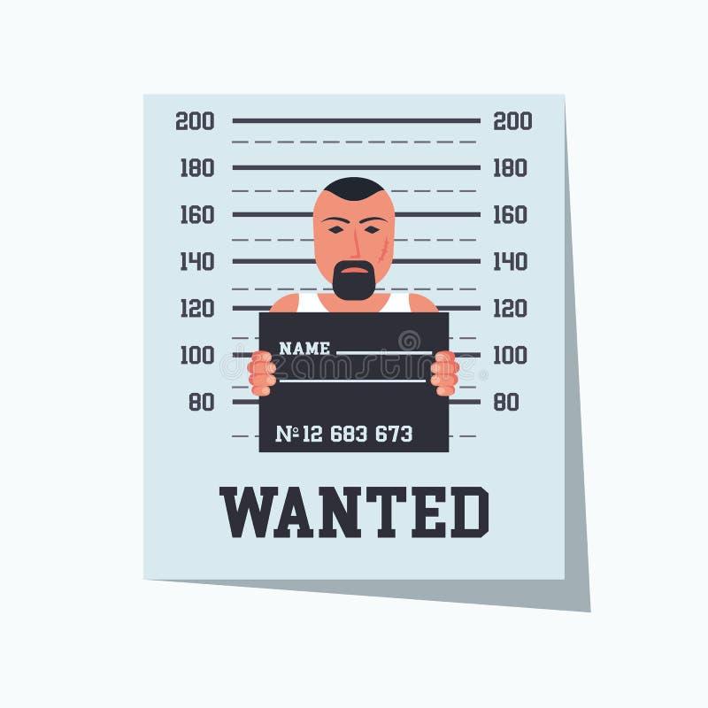 Criminale carente Modello del cartello con la foto arrestata illustrazione di stock