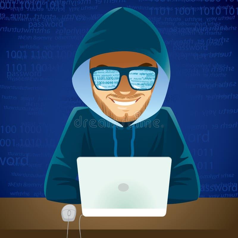 Criminale cyber del computer portatile del pirata informatico royalty illustrazione gratis