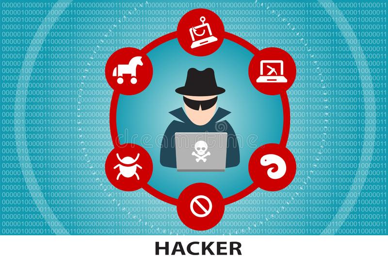 Criminale cyber unrecognisable del pirata informatico di computer illustrazione di stock