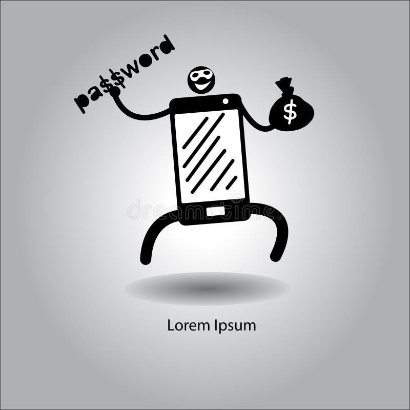 Criminale di vettore dell'illustrazione sullo Smart Phone rubando parola d'ordine illustrazione di stock