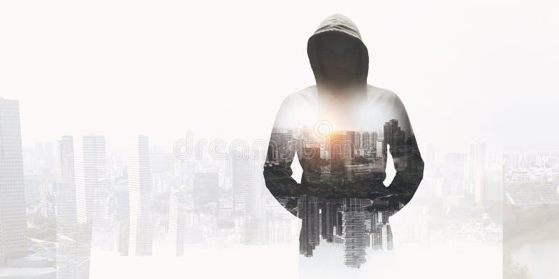 Criminale nella città Media misti immagine stock