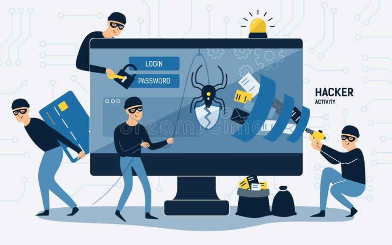 Criminals, burglars or crackers wearing black hats, masks and clothes stealing personal information from computer. Concept of hacker internet activity or royalty free illustration
