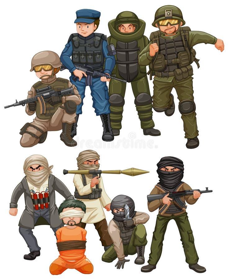 Criminals and SWAT team stock illustration