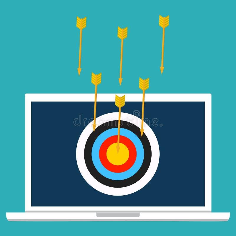 Crimine cyber, DOS di DDOS, attacco di servizio, computer portatile della vittima V illustrazione di stock