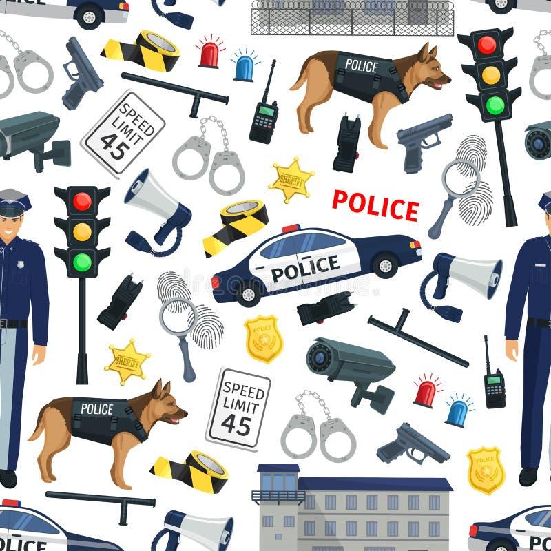 Crimine della polizia e modello senza cuciture di legge royalty illustrazione gratis