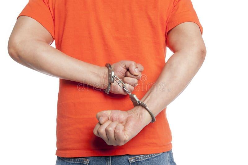 Criminel dans des menottes images libres de droits