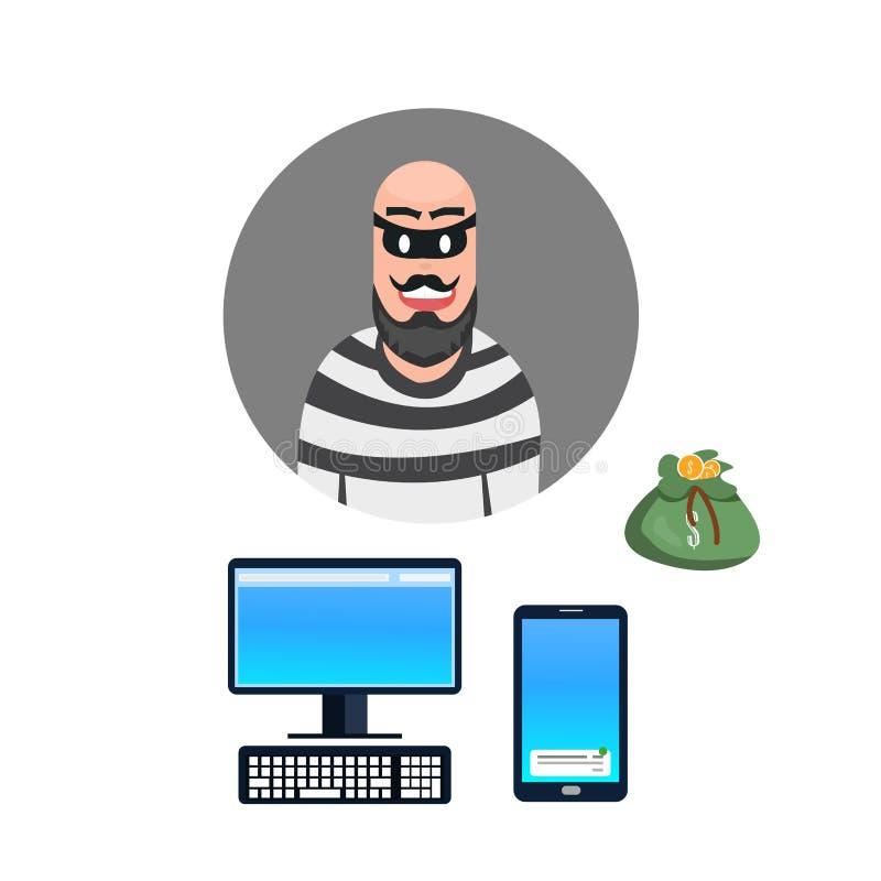 Criminel de voleur de bande dessinée de voleur par l'intermédiaire d'ordinateur et d'illustration mobile illustration stock