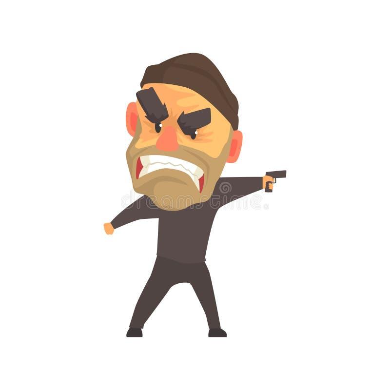 Criminel masculin furieux avec l'arme à feu dans son illustration de vecteur de bande dessinée de main illustration de vecteur