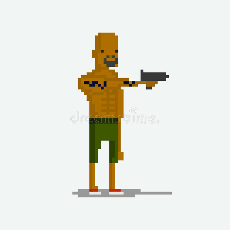 Criminels de caractère de pixel illustration stock