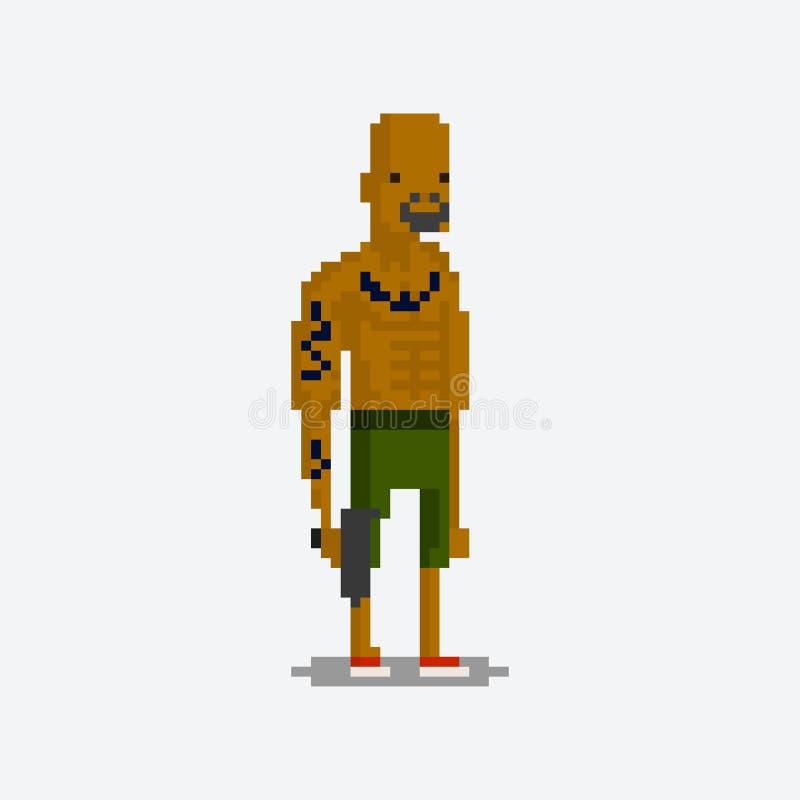 Criminels de caractère de pixel illustration libre de droits