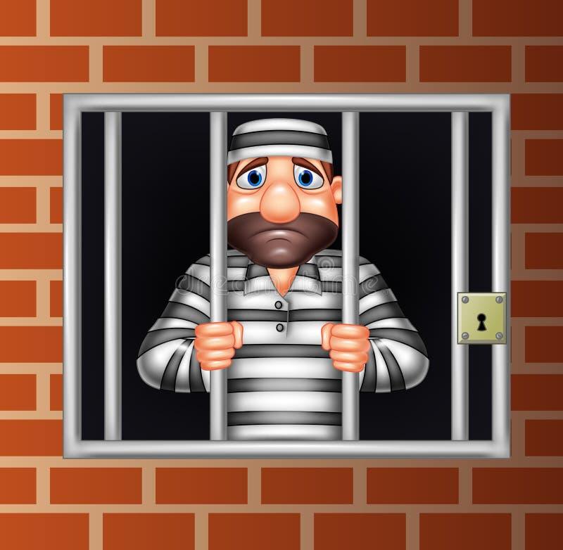 Criminoso dos desenhos animados na cadeia ilustração do vetor