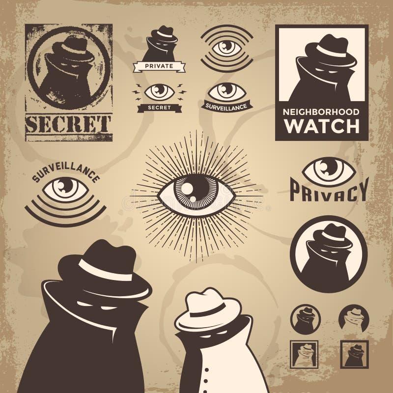 Criminoso esboçado, agente da fiscalização, e espião da privacidade ilustração royalty free