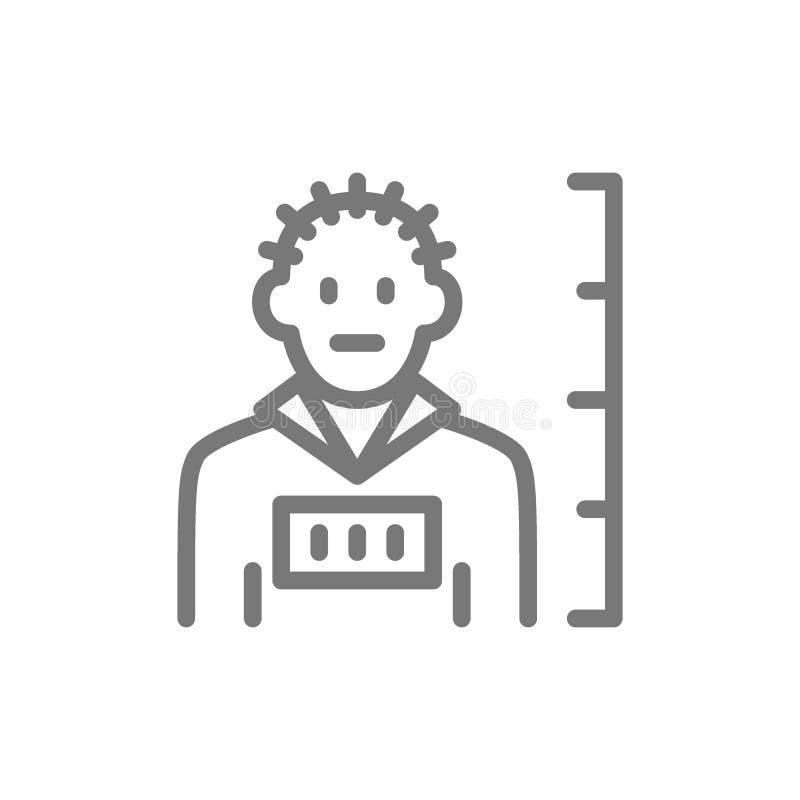 Criminoso, linha ícone do crime ilustração do vetor