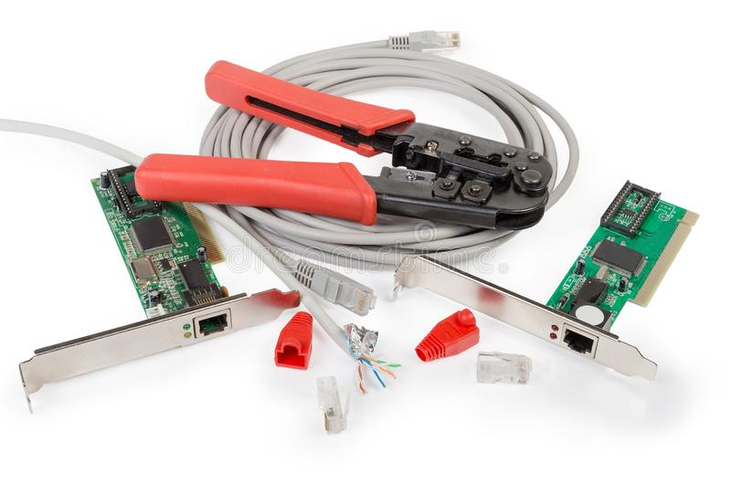 Crimping pliers and some network components for twisted pair royalty free stock photography