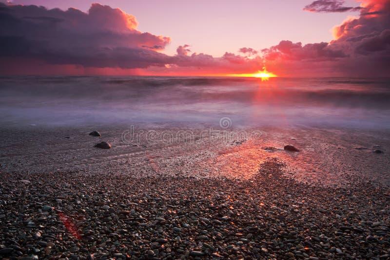 Crimson Beach. Majestic sunset in Kvariati, Georgia royalty free stock images