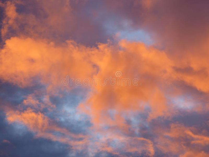 Crimson Cloudy Skies. Red blue royalty free stock image