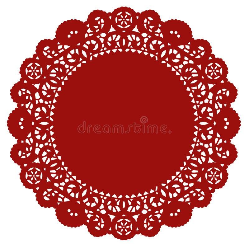 crimson doily lace round royaltyfri illustrationer
