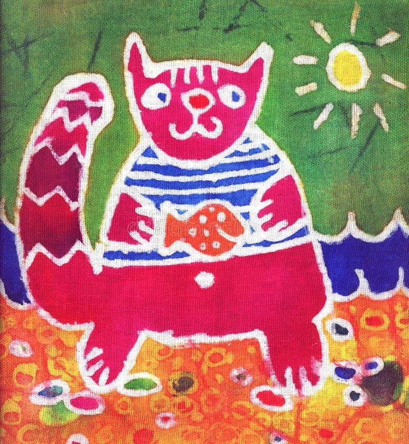 crimson fisk för katt stock illustrationer