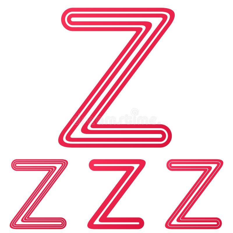 Crimson Line E Logo Design Set Stock Vector