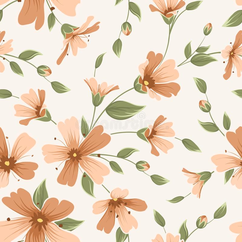 Crimson maroon gypsophila floral seamless pattern vector illustration