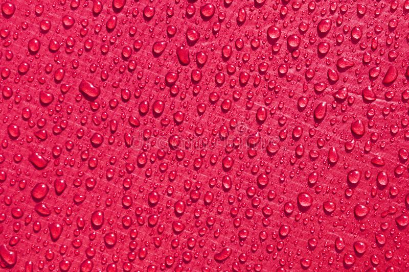 Crimson red waterproof material, rip stop cloth with drops of water stock photo