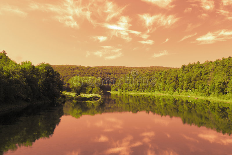 Crimson Sky Reflection Stock Photography
